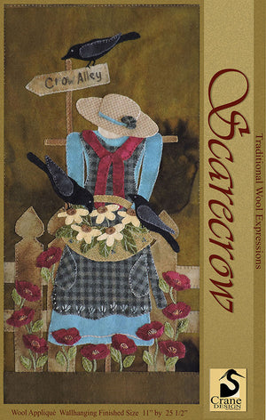SCARECROW - Wool Applique Pattern - Wall Hanging