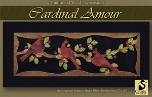 Cardinal Amour - Wool Applique Pattern - Table Runner/Bench Pillow