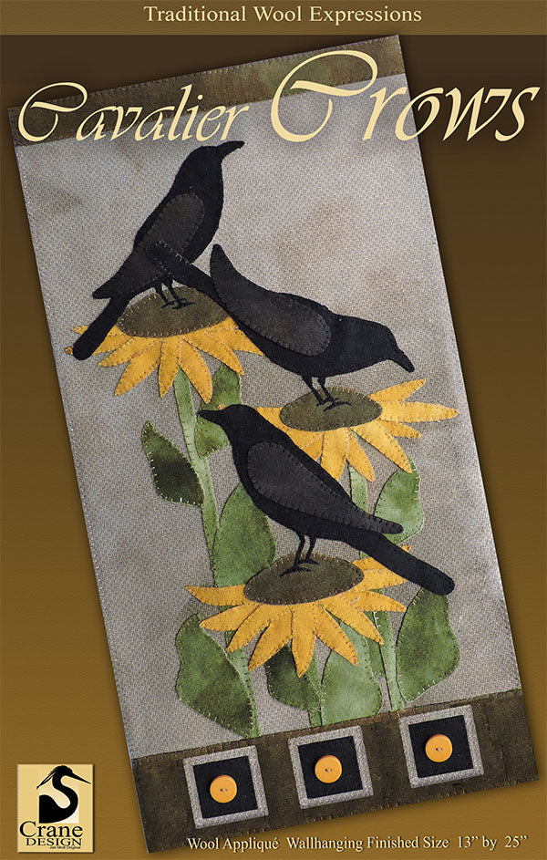 Cavalier Crows - Wool Applique Pattern - Wall Hanging