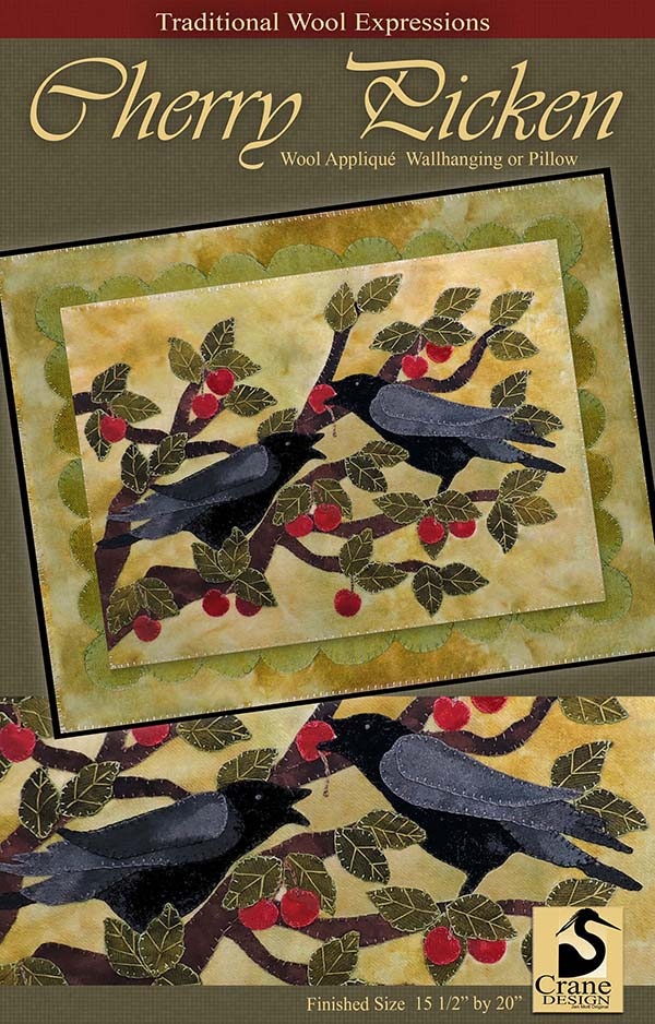 CHERRY PICKEN - Wool Applique Pattern - Wall Hanging - Pillow