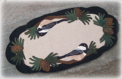 Chickadee Wonderland Wool Applique Pattern - Table Runner