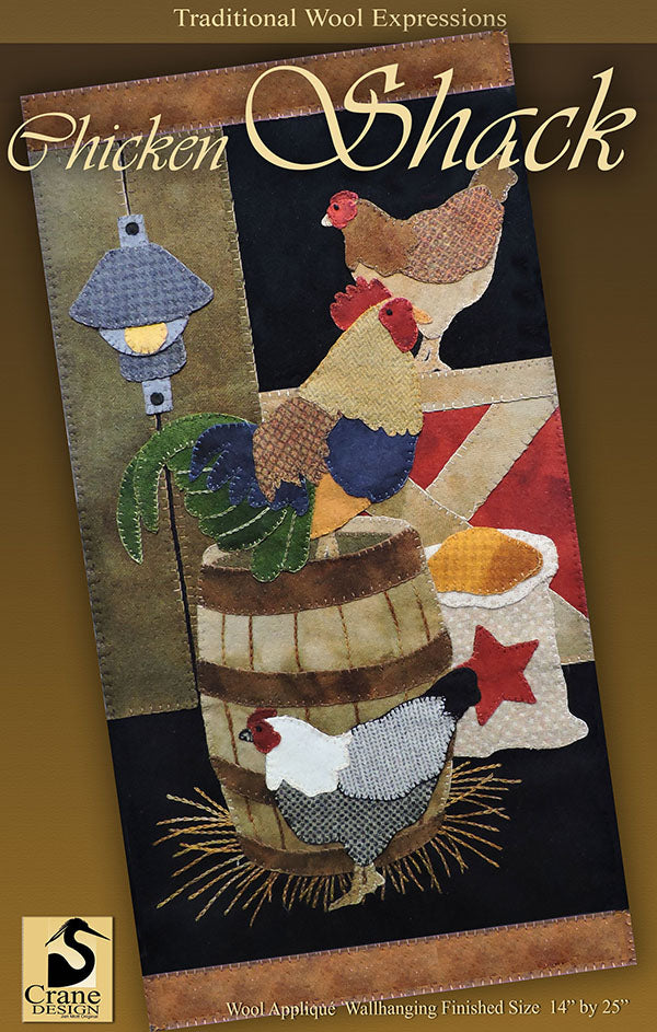 Chicken Shack - Wool Applique Pattern - Wall Hanging