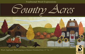Country Acres Wool Applique Pattern - Wall Hanging or Table Runner