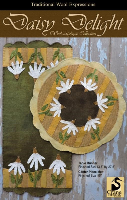 Daisy Delight Wool Applique Pattern - Two Table Mat Designs