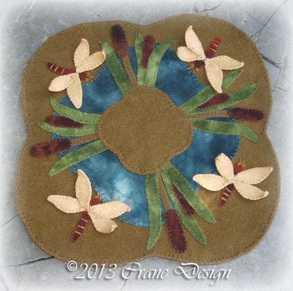 Dragonfly Symphony Wool Applique Pattern - Table Mat
