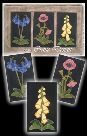 English Flower Garden Wool Applique Pattern - Wall Hanging