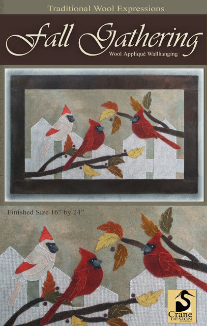 Fall Gathering Wool Applique Pattern - Wall Hanging