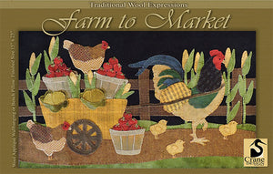 Farm to Market - Wool Applique Pattern - Wall Hanging/Pillow
