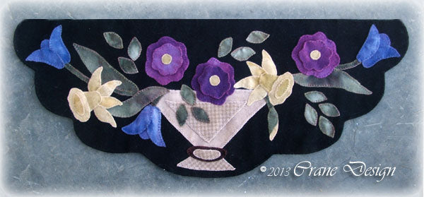 Floral Whimsy Wool Applique Pattern - Table Runner