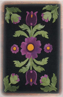 Grandma's Flower Garden Wool Applique Pattern - Table Runner
