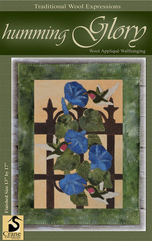 Humming Glory Wool Applique Pattern - Wall Hanging