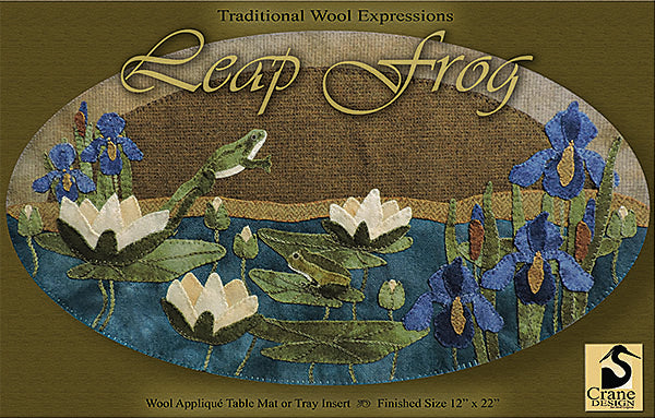 LEAP FROG - Wool Applique Pattern - Table Mat