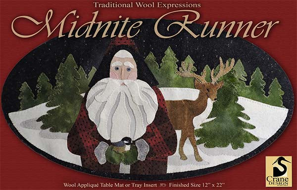 MIDNITE RUNNER - Wool Applique Pattern - Oval Table Mat