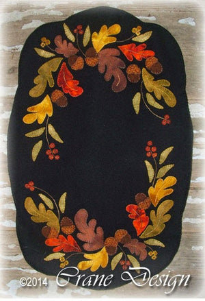 Oak and Berries Wool Applique Pattern - Table Runner