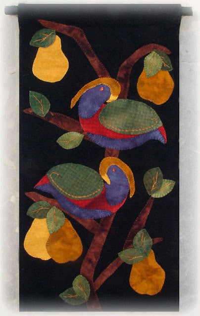 Partridge in a Pear Tree Wool Applique Pattern - Wall Hanging