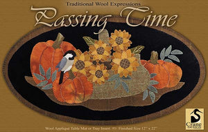PASSING TIME - Wool Applique Pattern - Table Mat