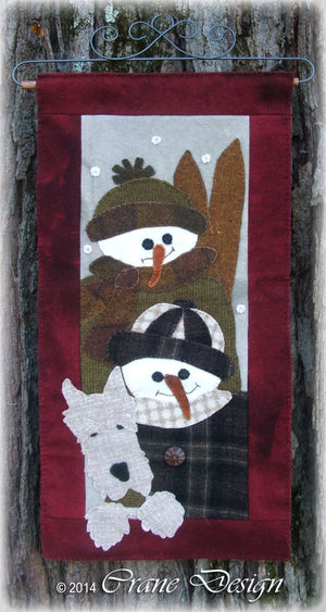 Snow Kids - Wool Applique Pattern - Wall Hanging