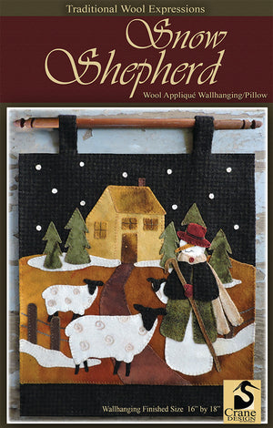 Snow Shepherd Wool Applique Pattern - Wall Hanging or Table Runner