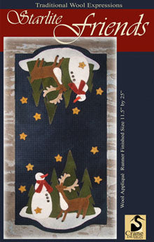 Starlite Friends - Wool Applique Pattern - Wall Hanging or Table Runner