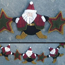 Starry Night Santa's - Wool Applique Pattern - Garland