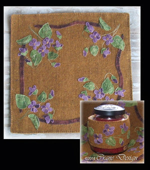Whispering Violets - Wool Applique Pattern - Candle Mat