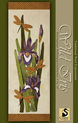 WILD IRIS - Wool Applique Pattern - Wall Hanging