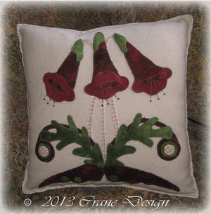 Woodland Flora - Wool Applique Pattern - Pillow