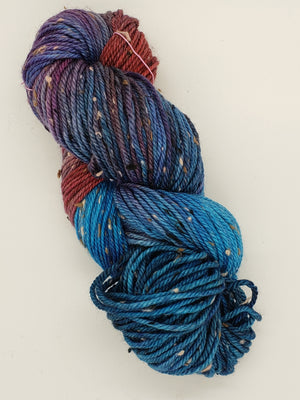 Bramble Tweedy - COASTAL WATERS -  OOAK Worsted Hand Dyed Yarn
