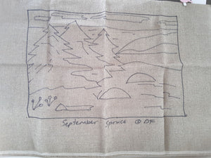 September Spruce  -  Rug Hooking Pattern on Linen