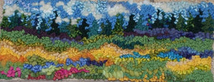 "SUMMER BLOOM  - 19.5"" x 7"" - Complete Rug Hooking Kit for Pillow or Wall Hanging - Deanne Fitzpatrick Design"