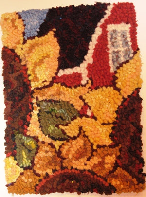 Sunflower House -  Rug Hooking Pattern on Linen