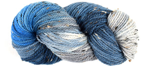 COLD WATERS - Bramble Tweedy Blue Worsted Hand Dyed Yarn