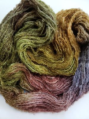BOREAL  - Silky Curly Locks - Hand Dyed Textured Yarn - Landscape Shades