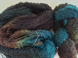 Wool Curly Locks - BULLRUSH  -   Hand Dyed Textured Yarn - Landscape Shades