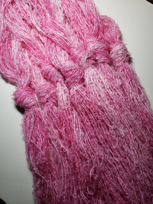 Silky Curly Lock  - CANDY FLOSS - Strands - Hand Dyed Textured Yarn OOAK - Shades of Pink/Cream