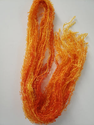 CITRUS  - Silky Curly Lock Strands - Hand Dyed Textured Yarn OOAK - Shades of Orange