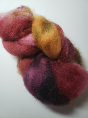 CRANBERRY CHUTNEY - Corriedale Sliver Hand Dyed Fleece - Shades of Red/Gold/Violet