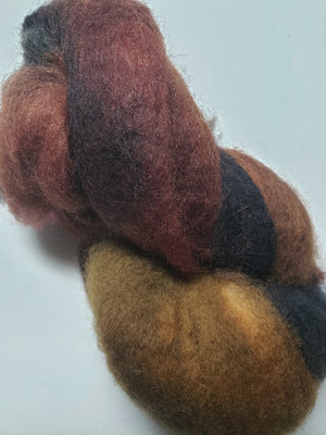 Corriedale Sliver - EARTH - Hand Dyed Fleece - Shades of Brown