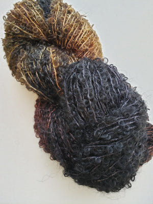 Silky Curly Locks - EARTH - Hand Dyed Textured Yarn - Landscape Shades