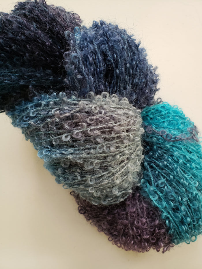 Wool Curly Locks - FROZEN OCEAN - Hand Dyed Textured Yarn - Landscape Shades