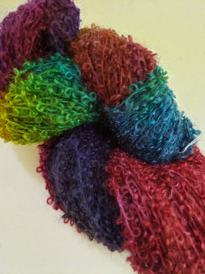 Wool Curly Locks - HIBISCUS - Hand Dyed Textured Yarn - Landscape Shades