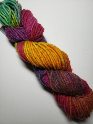 Wonder Woolen - HIBISCUS - Fleece Artist Hand Dyed Yarn - Shades of Fuschia/Gold/Bright Green
