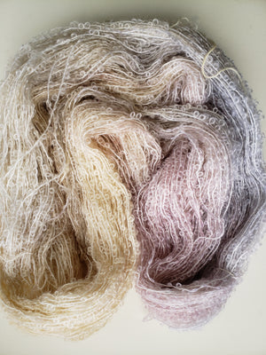 Silky Curly Locks - IVORY- Hand Dyed Textured Yarn - Landscape Shades