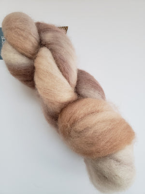 Corriedale Sliver - LATTE - OOAK Hand Dyed Fleece - Shades of Brown/Cream