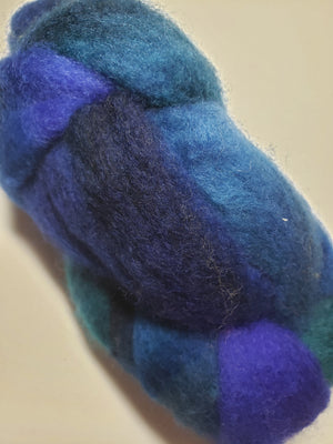 MARINE - Corriedale Sliver Hand Dyed Fleece - Shades of Blue