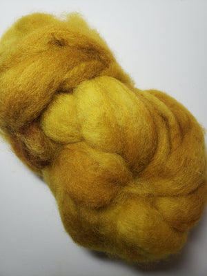 MINEGOLD - Corriedale Sliver Hand Dyed Fleece - Shades of Gold