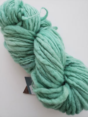 Slubby - MINT - Merino/Blue Face Leicester - OOAK Hand Dyed Textured Yarn Thick and Thin  - Shades of Green-Blue