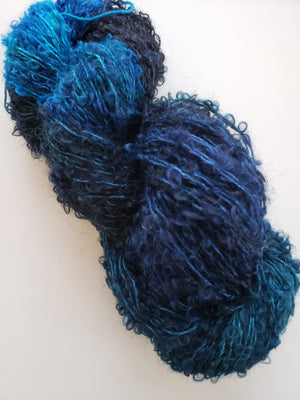 Silky Curly Locks - OCEAN - Hand Dyed Textured Yarn - Landscape Shades