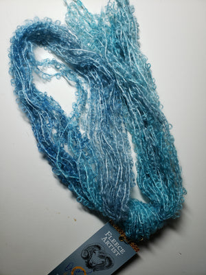 OCEAN BREEZE  - Silky Curly Lock Strands - Hand Dyed Textured Yarn OOAK - Shades of Blue