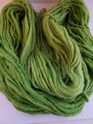 Slubby - PANDAN LEAF -  Merino/Blue Face Leicester - Hand Dyed Textured Yarn Thick and Thin  - Shades of Bright Green